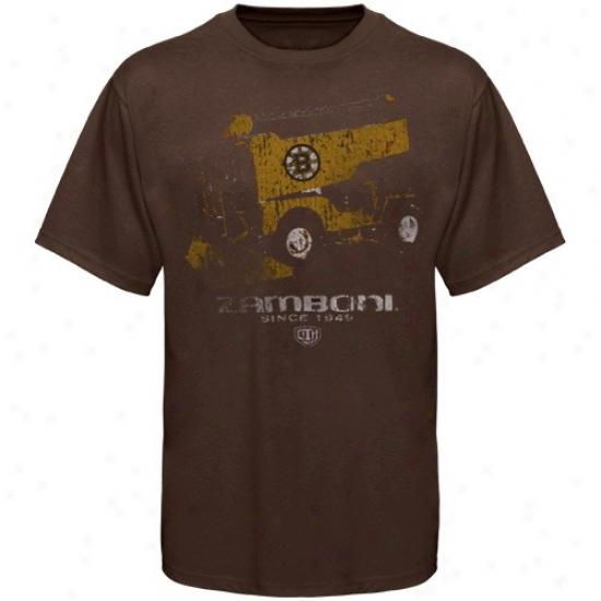 Boston Bruin Tshiry : Old Time Hockey Boston Bruin Brown Zamboni Tshirt
