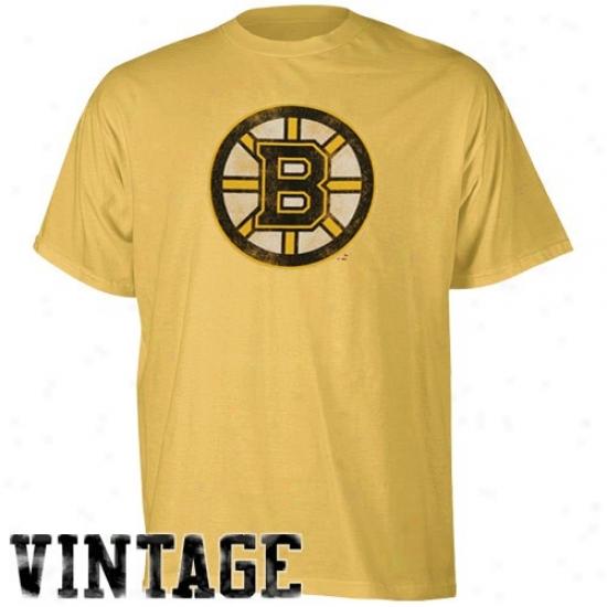 Boston Bruin Tshirt : Reebok Boston Bruin Gold Retro Logo Vintage Premium Tshirt