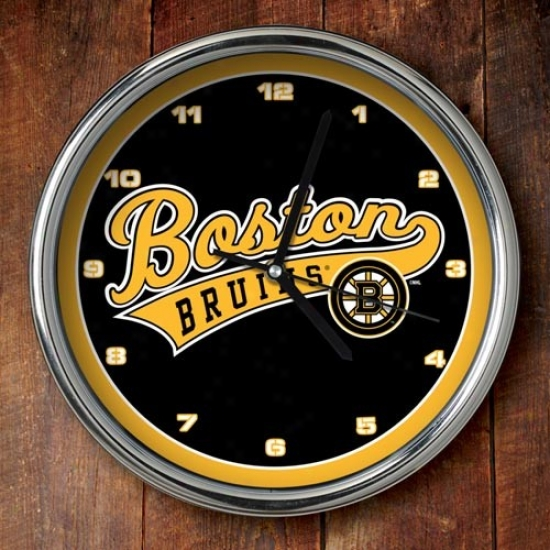 Boston Bruins 12'' Chrome Clock