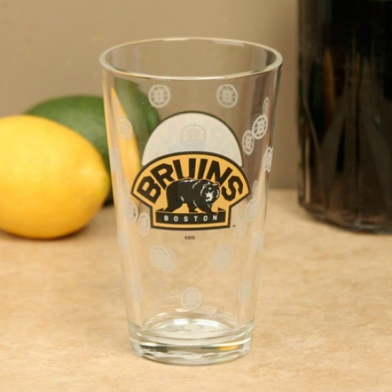 Boston Bruins 16oz. Satin Etch Pint Glass