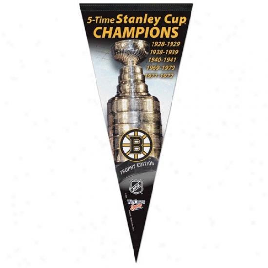 Bosron Bruins 5x Stanley Cup Champions 17'' X 40'' Vertical Pfemium Felt Pennant