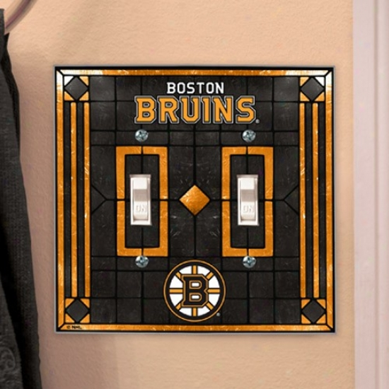 Boston Bruins Art-glass Double Switch Plate Screen