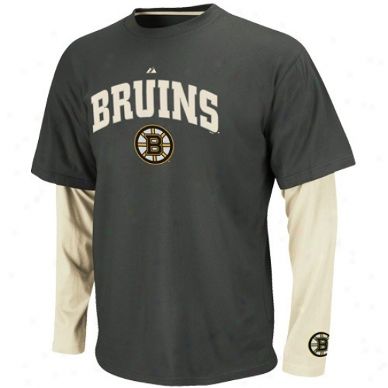 Boston Bruins Attire: Majestic Boston Bruins Charcoal-white Official Scorer Double Layer Premium T-shirt