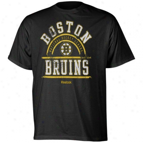 Boston Bruins Attire: Reebok Boston Bruins Black Hockey School T-shirt