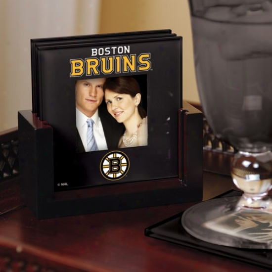 Boston Bruins Black 4-pack Photo Coaster Set