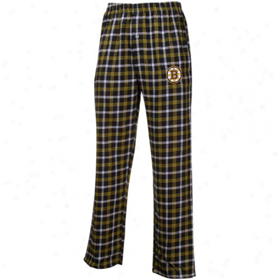 Boston Bruins Black-gold Plaid Match-up Flannel Pajama Pants