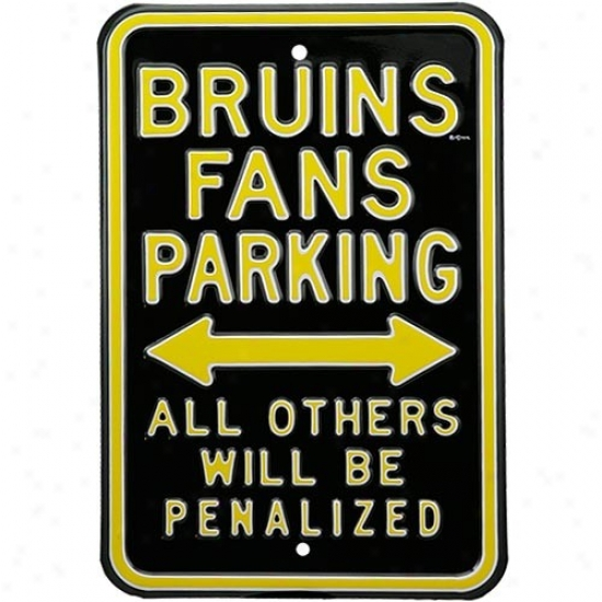 Boston Bruins Black Penalized Parking Sign