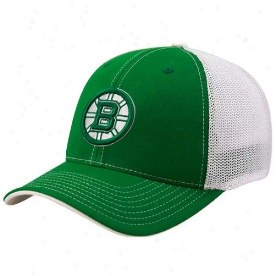 Boston Bruins Cap : Reebok Boston Bruina Kellg Inexperienced St. Patrick's Day Structured Mesh Back Flex Fit Cap