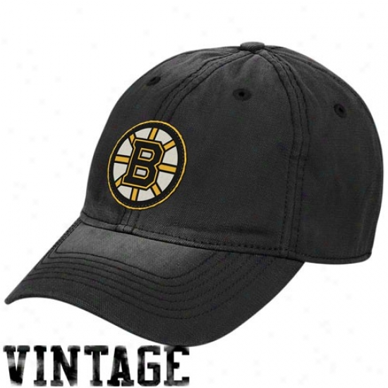 Boston Bruims Caps : Reebok Boston Bruins Black Distressed Logo Vintage Slouch Caps