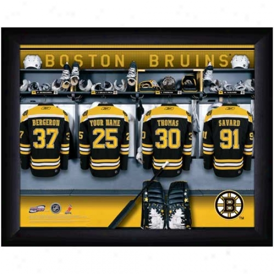 Boston Bruins Customized Locker Room Black Framed Ph0to