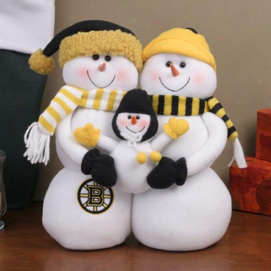 Boston Bruins Decorative Table Toop Snowman Family Figurine