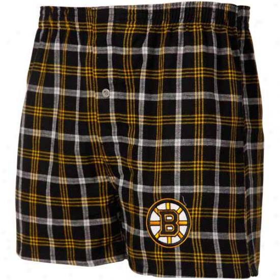 Boston Bruins Gold-blak Plaid Match-up Boxer