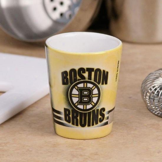Boston Bruins Gold Slapshot Ceramic Shot Glass