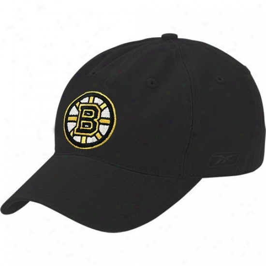 Boston Bruins Hat : Reebok Boston Bruins Black Fwce Off Slouch Flex Fit Hat