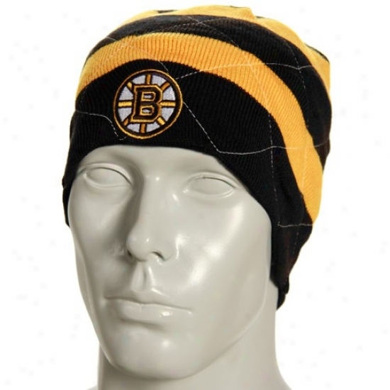 Boston Bruins Hats : Reebok Boston Bruins Black Band Reversible Knit Beanie