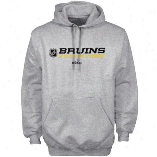 Boston Bruins Hoodie : Reebok Boson Bruins Ash Right Wing Hoodie