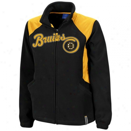 Boston Bruins Jacket : Reebok Boston Bruins Ladies Black Rhythm Microfleece Full Zip Jacket