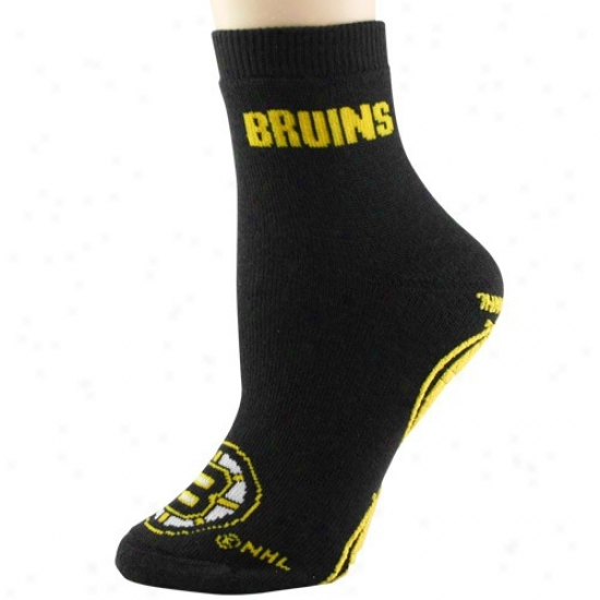 Boston Bruins Ladies Black Slipper Socks