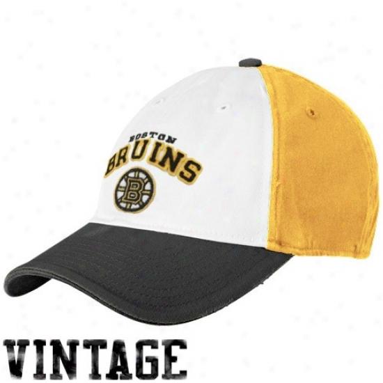 Boston Bruins Merchandise: Reebok Boston Bruins White-gold Two Tone Flex Fit Slouch Hat