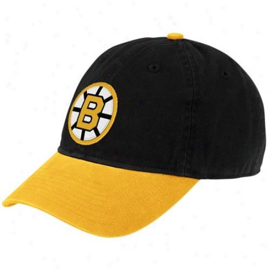 Boton Bruins Merchandise: Rrebok Boston Bruins Black Vintage Logo Slouch Hat