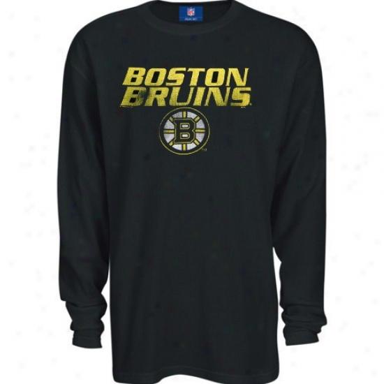 Boston Bruins Shirt : Majestic Boston Bruins Dismal Be~ne Long Thermal Long Sleeve Shirt