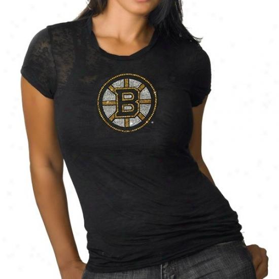 Boston Bruins Shirts : Boston Bruins Ladies Black Rhihestone Burnout Premium Shirts