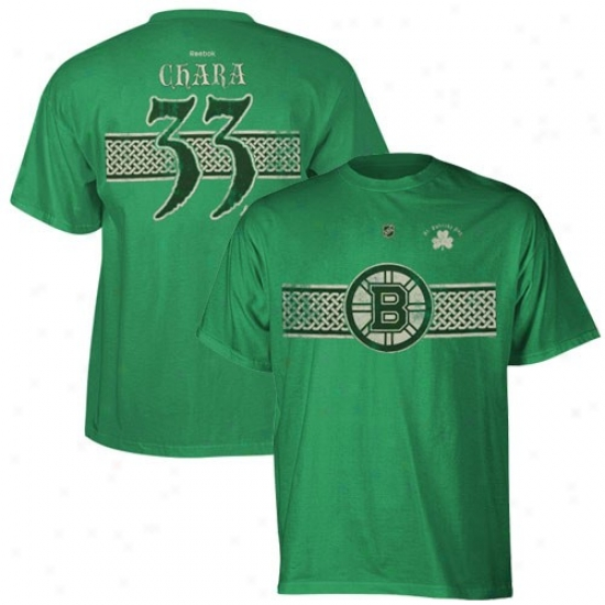 Bostonn Bruins Shirts : Reebok Boston Bruins #33 Zdeno Chara Keily Green St. Patrick's Day Celtic Player Shirts