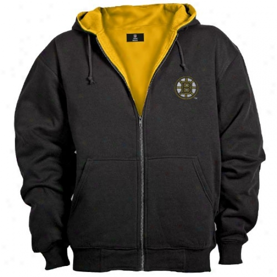 Boston Bruins Stuff: Boston Bruins Black Craftsman Workman's Full Zip Hoody Sweatshirt