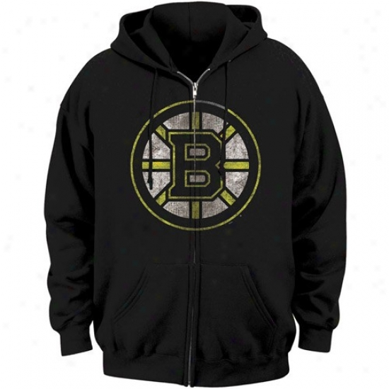Boston Bruins Sweatshirts : Majestic Boston Bruins Black Official Logo Full Zip Sweatshirs