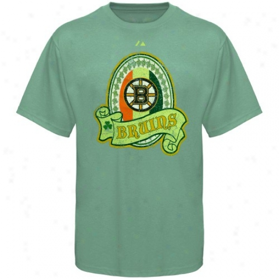 Boston Bruins T Shirt : Majestic Boston Bruins Green Irish Pride T Shirt
