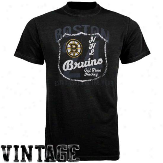 Boston Bruins Tee : Old Time Hockey Boston Bruins Black Captain Tee