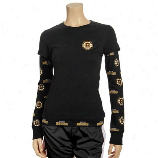 Boston Bruins Tees : Boston Bruins Ladies Black T2 Double Layer Long Sleeve Tees