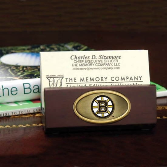 Boston Bruins Wodoen Business Card Holder
