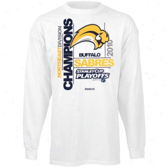 Buffalo Sabre Apparel: Reebok Buffalo Sabre White 2010 Northeast Division Champions Sidesohw Attractive qualities Long Sleeve T-shirt