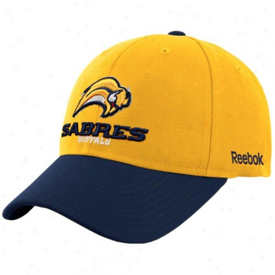 Buffalo Sabre Gear: Reebok Buffalo Sabre Gold Official Color Blocked Adjustable Hat