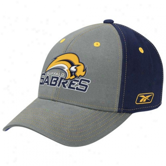 Buffalo Sabre Hat : Reebok Buffalo Sabre Gray Structured Adjustable Hat