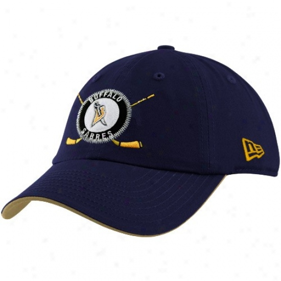Buffalo Sabre Hats : New Era Buffalo Sabre Youth Navy Blue League Ace Adjustable Hats