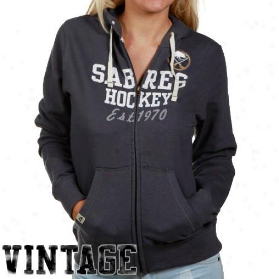 Buffalo Sbre Hoodies : Majestic Buffalo Sabre Ladies Black Fortunate  Charm Full Zip Hoodies