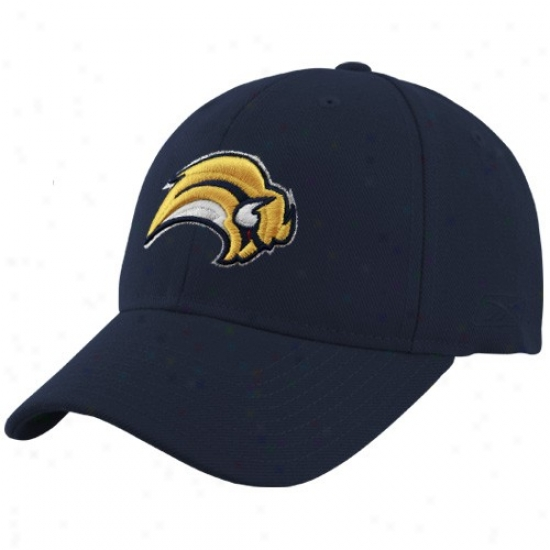 Buffalo Sabre Merchandise: Reebok Buffalo Sabre Navy Blue Basic Logo Wool Blend Adjustable Hat