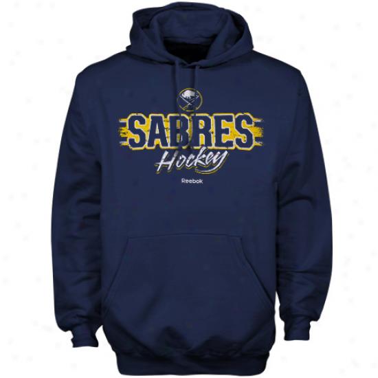 Buffalo Sabre Stuff: Reebok Buffalo Sabre Navy Blue Allegiance Pullover Hoody Sweatshirt