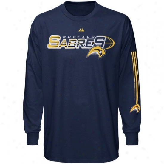 Buffalo Sabre T-shirt : Majestic Buffalo Sabre Navy Blue Extreme Long Sleeve T-shirt