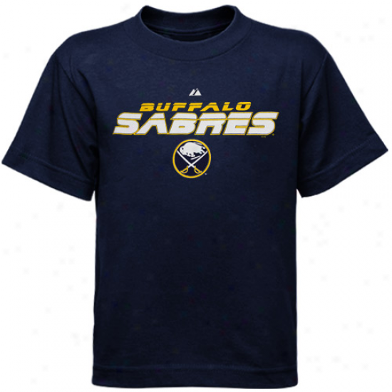 Buffalo Sabre T Shirt : Majestic Buffalo Sabre Youth Navy Blue Attack Zone T Shirf