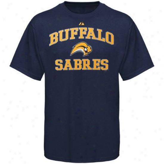 Buffalo Sabre T Sirt : Majestic Buffalo Sabre Navy Blue Courage & Soul Ii T Shirt