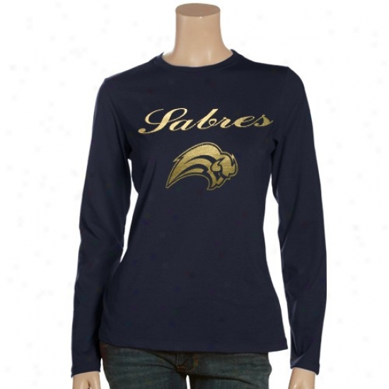 Buffalo Sabre Tshirtq : Buffalo Sabre Ladies Navy Blue Hkgh Score Long Sleeve Tshirts