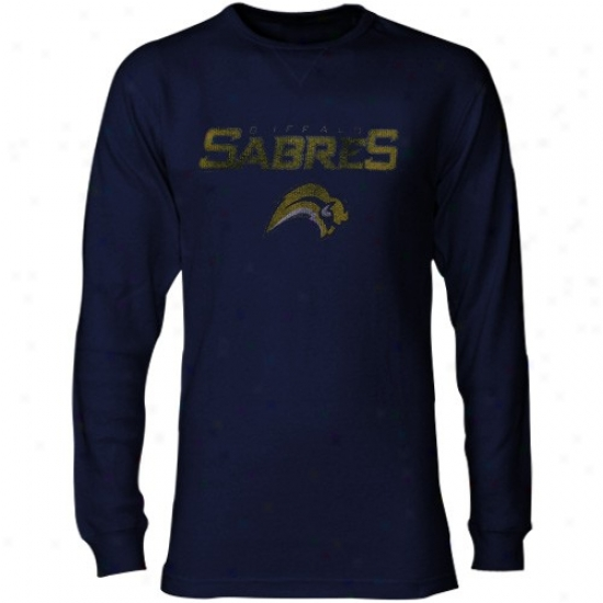 Buffalo Sabre Tshirts : Majestic Buffalo Cavalry sword Navy Blue Go Long Thermal Lonb Sleeve Tshirts