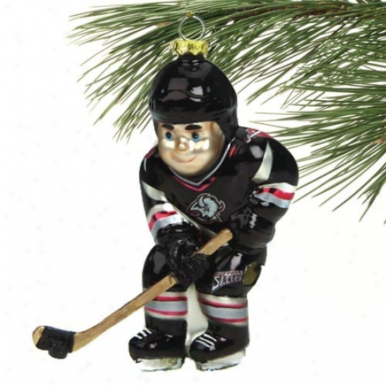 Buffalo Sabres 4-iinch Blown Glass Hockey Player Ornament