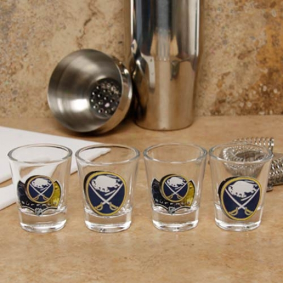 Buffalo Sabres 4-pack Enhanced High Definition Design Shot Glass Set