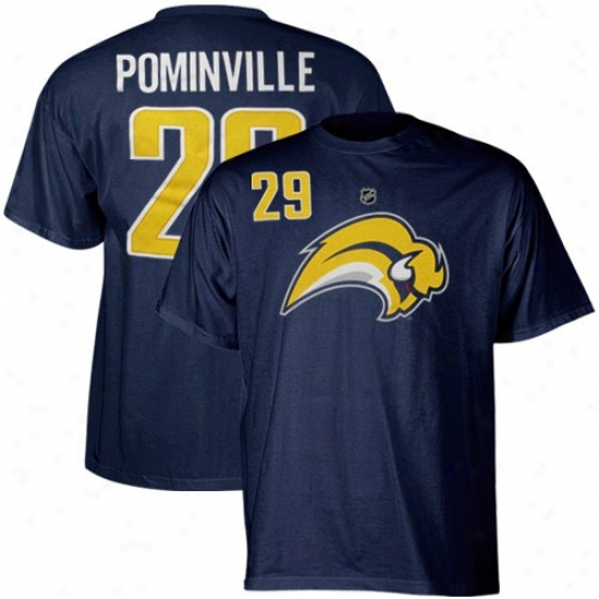 Buffalo Sabres Apparel: Reebok Buffalo Sabres #29 Jason Pominville Ships of war Blue Player T-shirt