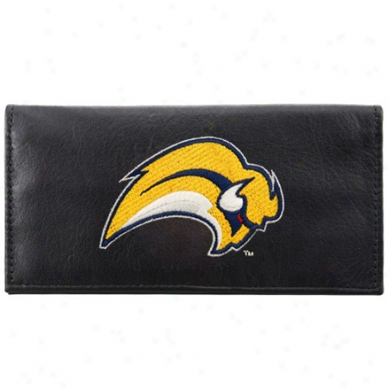 Buffalo Sabres Black Leather Embroidered Checkbook Cover