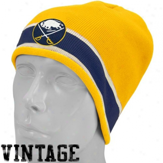 Buffalo Sabres Caps : Reebok Buffalo Sabres Gold Vintage Knit Beanie